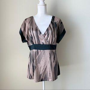 H&M V neck black and blush pink blouse